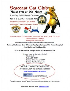CAT SHOW SCHEDULED FOR May 4-5, 2013